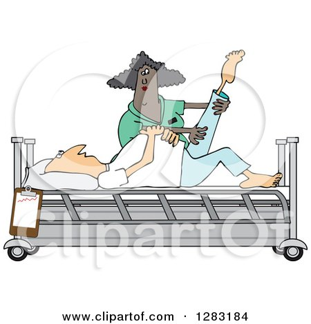 Clipart of a Black Female Nurse Helping a Caucasian Male Patient Stretch for Physical Therapy Recovery in a Hospital Bed - Royalty Free Vector Illustration by djart