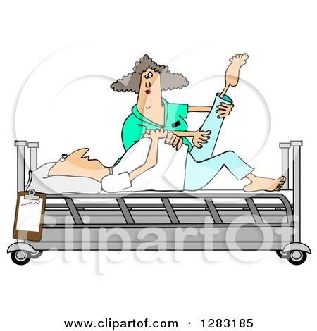 Clipart of a White Female Nurse Helping a White Male Patient Stretch for Physical Therapy Recovery in a Hospital Bed - Royalty Free Illustration by djart