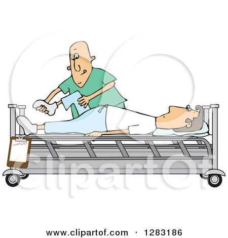 Clipart of a White Male Nurse Helping a Guy Patient Stretch for Physical Therapy Recovery in a Hospital Bed - Royalty Free Vector Illustration by djart