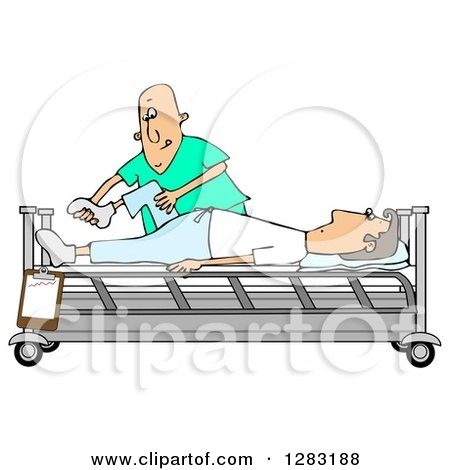 Clipart of a Caucasian Male Nurse Helping a Guy Patient Stretch for Physical Therapy Recovery in a Hospital Bed - Royalty Free Illustration by djart