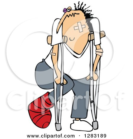 Clipart of a Caucasian Banged up Man with Bandages, Crutches, a Black Eye and Cast - Royalty Free Vector Illustration by djart