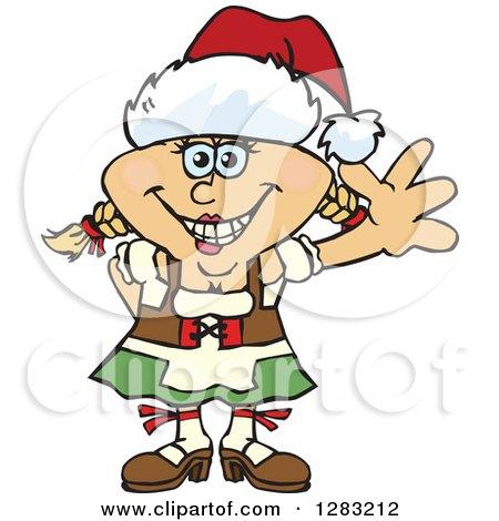 Clipart of a Friendly Waving Blond Oktoberfest German Woman Wearing a Christmas Santa Hat - Royalty Free Vector Illustration by Dennis Holmes Designs