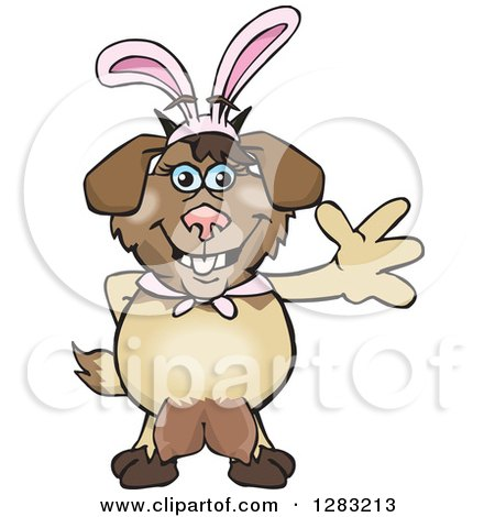 Clipart of a Friendly Waving Nanny Goat Wearing Easter Bunny Ears - Royalty Free Vector Illustration by Dennis Holmes Designs