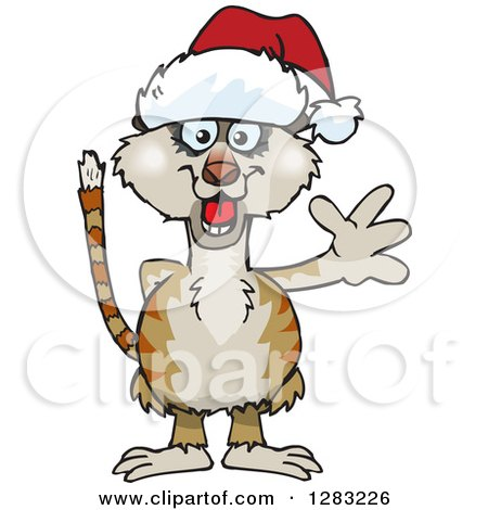 Clipart of a Friendly Waving Meerkat Wearing a Christmas Santa Hat - Royalty Free Vector Illustration by Dennis Holmes Designs