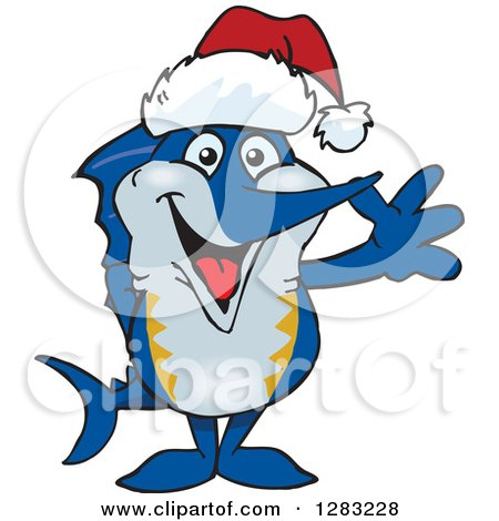 Clipart of a Friendly Waving Marlin Fish Wearing a Christmas Santa Hat - Royalty Free Vector Illustration by Dennis Holmes Designs