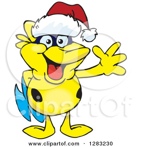 Clipart of a Friendly Waving Yellow Marine Fish Wearing a Christmas Santa Hat - Royalty Free Vector Illustration by Dennis Holmes Designs