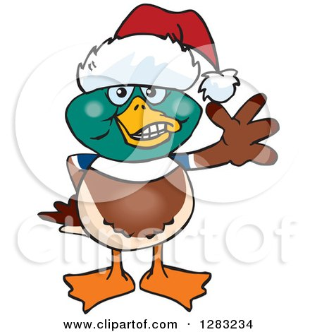 Clipart of a Friendly Waving Mallard Wearing a Christmas Santa Hat - Royalty Free Vector Illustration by Dennis Holmes Designs