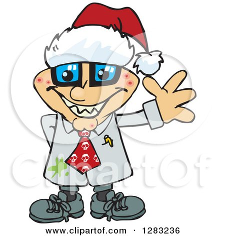 Clipart of a Friendly Waving Pimpled Blond White Male Mad Scientist Wearing a Christmas Santa Hat - Royalty Free Vector Illustration by Dennis Holmes Designs