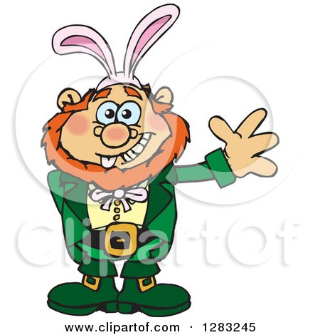 Clipart of a Friendly Waving Leprechaun Wearing Easter Bunny Ears - Royalty Free Vector Illustration by Dennis Holmes Designs