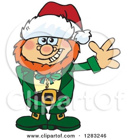 Clipart of a Friendly Waving Leprechaun Wearing a Christmas Santa Hat - Royalty Free Vector Illustration by Dennis Holmes Designs