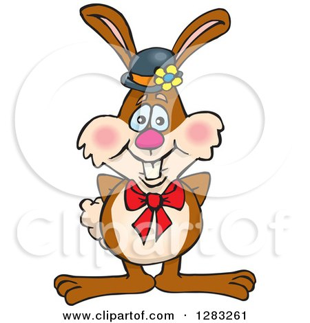 Clipart of a Happy Brown Easter Bunny Rabbit Wearing a Hat and Bow - Royalty Free Vector Illustration by Dennis Holmes Designs