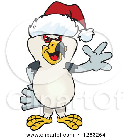 Clipart of a Friendly Waving Kite Bird Wearing a Christmas Santa Hat - Royalty Free Vector Illustration by Dennis Holmes Designs