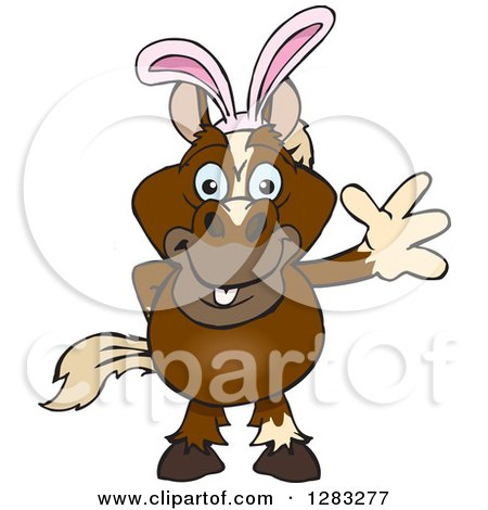 Clipart of a Friendly Waving Brown Horse Wearing Easter Bunny Ears - Royalty Free Vector Illustration by Dennis Holmes Designs