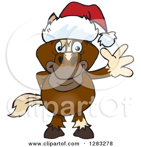 Clipart of a Friendly Waving Brown Horse Wearing a Christmas Santa Hat - Royalty Free Vector Illustration by Dennis Holmes Designs