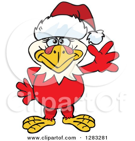 Clipart of a Friendly Waving Hen Chicken Wearing a Christmas Santa Hat - Royalty Free Vector Illustration by Dennis Holmes Designs