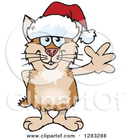 Clipart of a Friendly Waving Hamster Wearing a Christmas Santa Hat - Royalty Free Vector Illustration by Dennis Holmes Designs