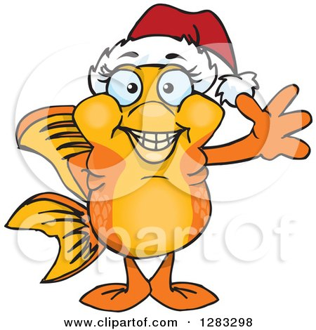 Clipart of a Friendly Waving Fancy Goldfish Wearing a Christmas Santa Hat - Royalty Free Vector Illustration by Dennis Holmes Designs