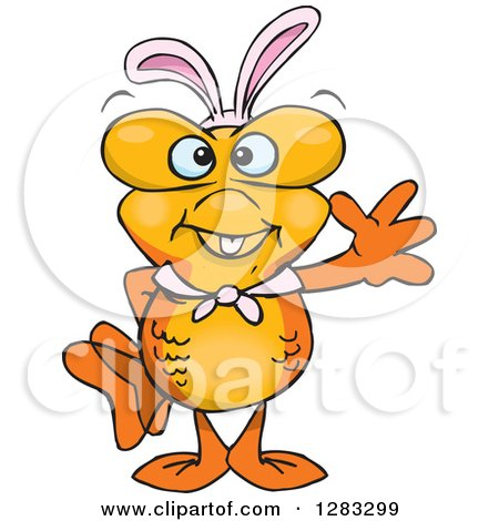 Clipart of a Friendly Waving Goldfish Wearing Easter Bunny Ears - Royalty Free Vector Illustration by Dennis Holmes Designs