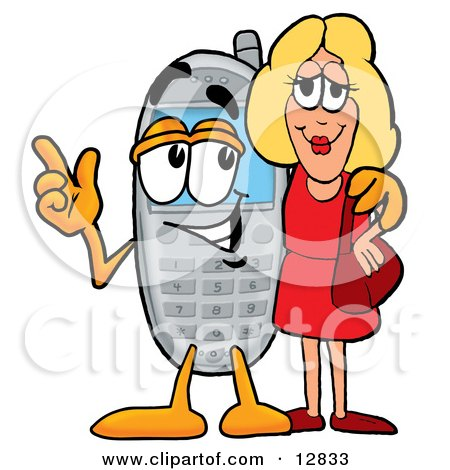Clipart Picture of a Wireless Cellular Telephone Mascot Cartoon Character Talking to a Pretty Blond Woman by Toons4Biz