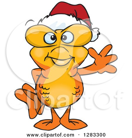 Clipart of a Friendly Waving Goldfish Wearing a Christmas Santa Hat - Royalty Free Vector Illustration by Dennis Holmes Designs
