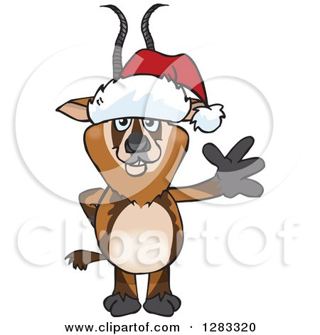 Clipart of a Friendly Waving Gazelle Wearing a Christmas Santa Hat - Royalty Free Vector Illustration by Dennis Holmes Designs