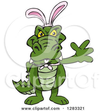 Clipart of a Friendly Waving Alligator Wearing Easter Bunny Ears - Royalty Free Vector Illustration by Dennis Holmes Designs