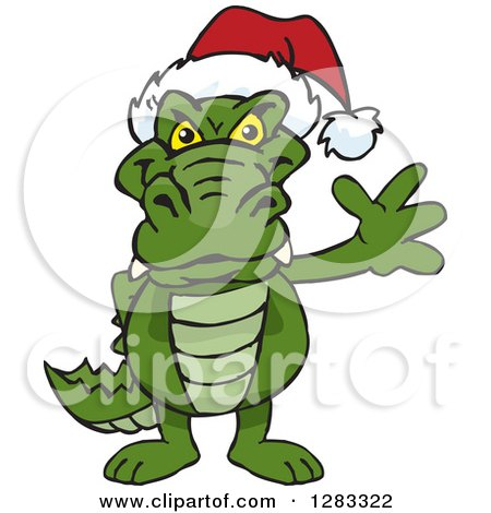 Clipart of a Friendly Waving Alligator Wearing a Christmas Santa Hat - Royalty Free Vector Illustration by Dennis Holmes Designs