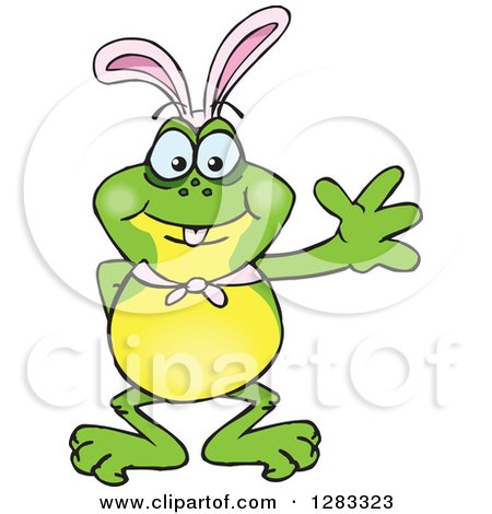 Clipart of a Friendly Waving Frog Wearing Easter Bunny Ears - Royalty Free Vector Illustration by Dennis Holmes Designs