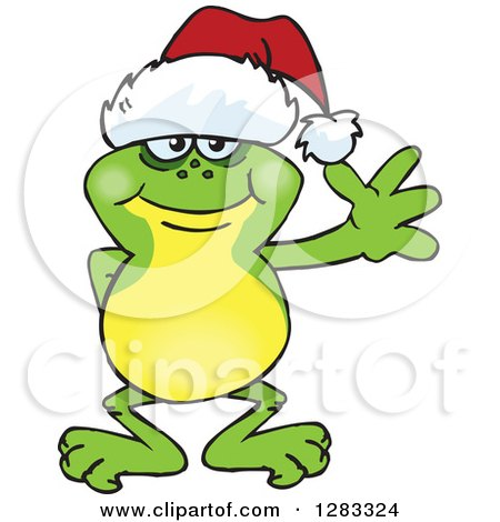 Clipart of a Friendly Waving Frog Wearing a Christmas Santa Hat - Royalty Free Vector Illustration by Dennis Holmes Designs