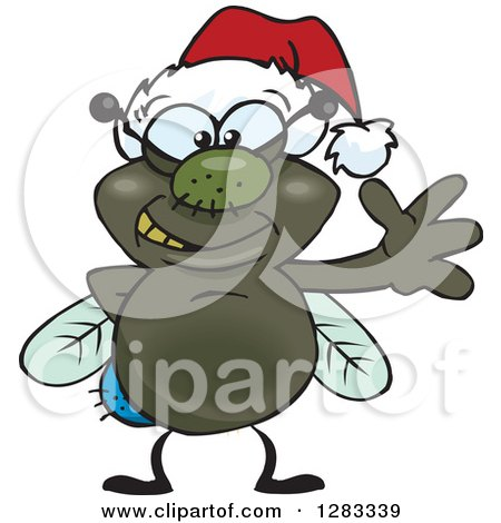 Clipart of a Friendly Waving House Fly Bug Wearing a Christmas Santa Hat - Royalty Free Vector Illustration by Dennis Holmes Designs