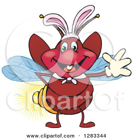 Clipart of a Friendly Waving Firefly Lightning Bug Wearing Easter Bunny Ears - Royalty Free Vector Illustration by Dennis Holmes Designs