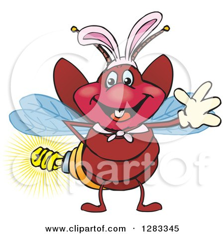 Clipart of a Friendly Waving Firefly Lightning Bug with a Light Bulb Butt Wearing Easter Bunny Ears - Royalty Free Vector Illustration by Dennis Holmes Designs