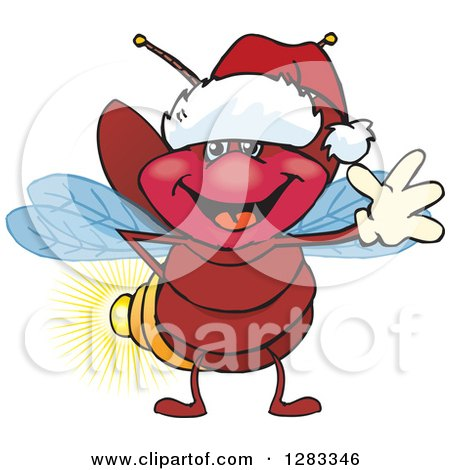 Clipart of a Friendly Waving Firefly Lightning Bug Wearing a Christmas Santa Hat - Royalty Free Vector Illustration by Dennis Holmes Designs