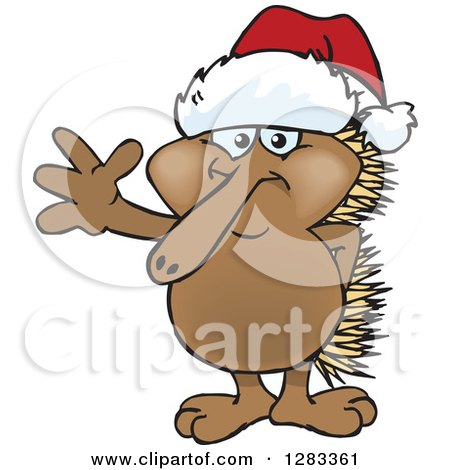 Clipart of a Friendly Waving Echidna Wearing a Christmas Santa Hat - Royalty Free Vector Illustration by Dennis Holmes Designs