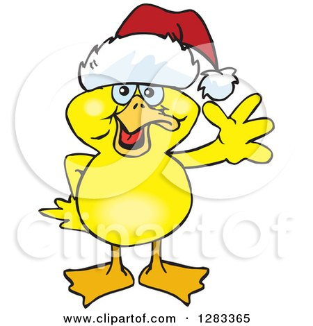 Clipart of a Friendly Waving Yellow Duck Wearing a Christmas Santa Hat - Royalty Free Vector Illustration by Dennis Holmes Designs