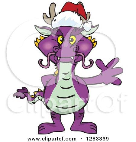 45175f73fc4a4 Clipart of a Friendly Waving Purple Dragon Wearing a Christmas Santa Hat - Royalty  Free Vector