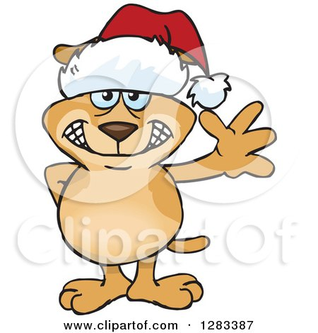 Clipart of a Friendly Waving Sparkey Dog Wearing a Christmas Santa Hat - Royalty Free Vector Illustration by Dennis Holmes Designs