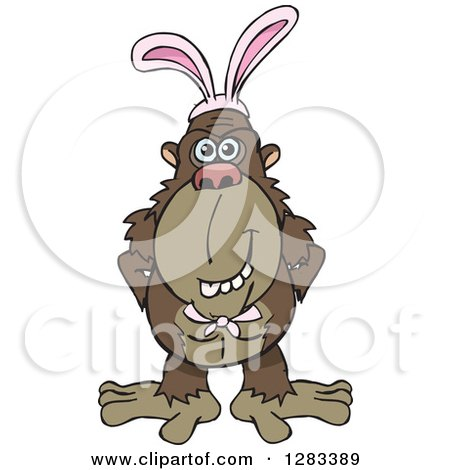 Clipart of a Friendly Brown Ape Wearing Easter Bunny Ears - Royalty Free Vector Illustration by Dennis Holmes Designs