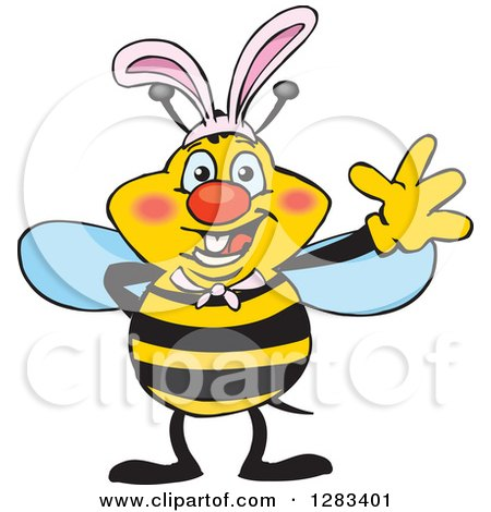 Clipart of a Friendly Waving Bee Wearing Easter Bunny Ears - Royalty Free Vector Illustration by Dennis Holmes Designs