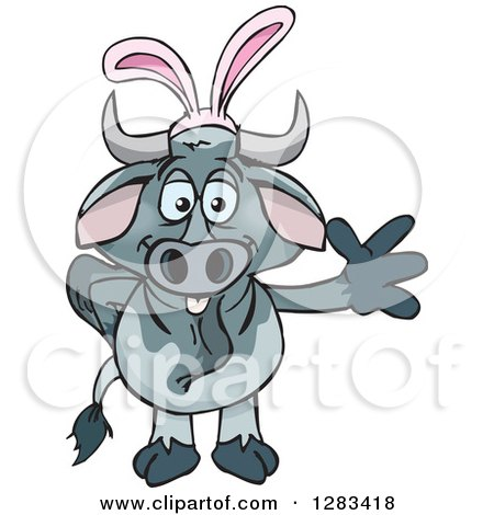 Clipart of a Friendly Waving Brahman Bull Wearing Easter Bunny Ears - Royalty Free Vector Illustration by Dennis Holmes Designs