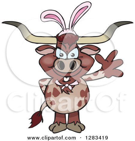 Clipart of a Friendly Waving Longhorn Bull Wearing Easter Bunny Ears - Royalty Free Vector Illustration by Dennis Holmes Designs