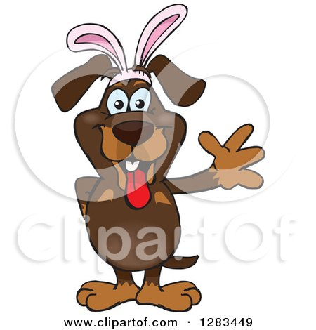 Clipart of a Friendly Waving Dachshund Dog Wearing Easter Bunny Ears - Royalty Free Vector Illustration by Dennis Holmes Designs