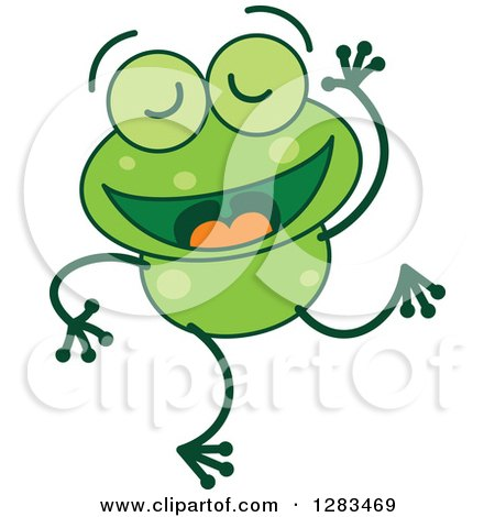 Clipart of a Happy Dancing Green Frog - Royalty Free Vector Illustration by Zooco