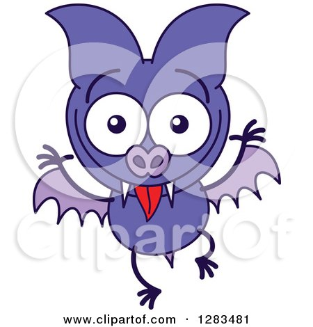 Clipart of a Goofy Purple Vampire Bat Making Funny Faces - Royalty Free Vector Illustration by Zooco