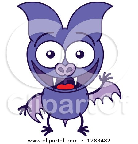Clipart of a Waving and Greeting Purple Vampire Bat - Royalty Free Vector Illustration by Zooco