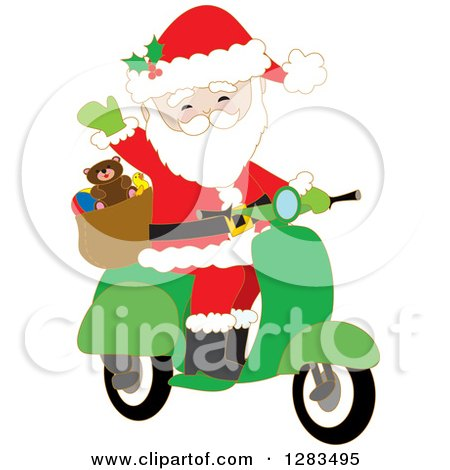Clipart of Santa Claus Waving and Driving a Christmas Scooter - Royalty Free Vector Illustration by Maria Bell