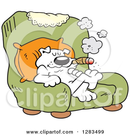 Clipart of a Happy White Boss Dog Smoking a Cigar in a Green Arm Chair - Royalty Free Vector Illustration by Johnny Sajem