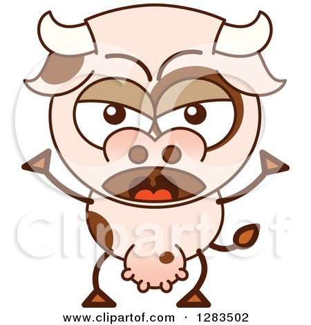 Clipart of a Mad Cartoon Cow Shouting - Royalty Free Vector Illustration by Zooco