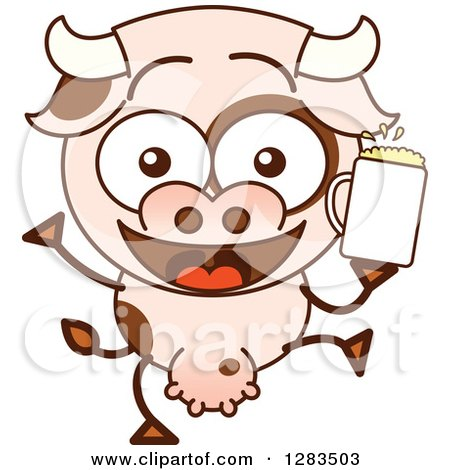 Clipart of a Cartoon Cow Dancing with Beer - Royalty Free Vector Illustration by Zooco