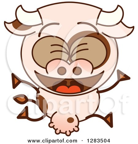 Clipart of a Cartoon Cow Jumping and Celebrating - Royalty Free Vector Illustration by Zooco